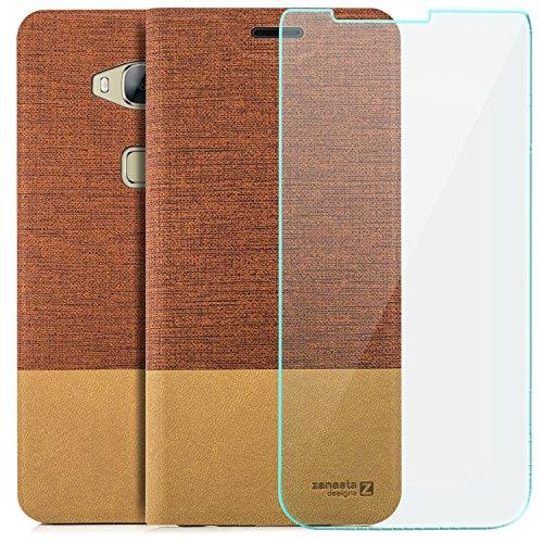 zanasta Tasche kompatibel mit Huawei GX8 (G8) [RIO-L01]   Hülle + Bildschirmschutzglas [ Schutzfolie aus gehärtetem Glas ] Flip Case Slim Schutzhülle Handytasche mit Kartenfach, Standfunktion  Rotbraun