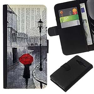 NICE GIFT GOOD PRESENT // Leder Geldbörse Schutzhülle Tasche Hülle HandyHülle Leather Wallet Case for Samsung Galaxy Core Prime / Romantische Sad Painting Red Umbrella /