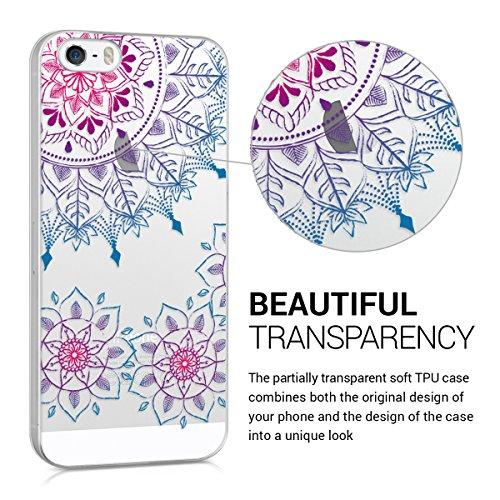 kwmobile Hülle für Apple iPhone SE / 5 / 5S - TPU Silikon Backcover Case Handy Schutzhülle - Cover Metallic Blau Vintage Blumenring Pink Blau Transparent