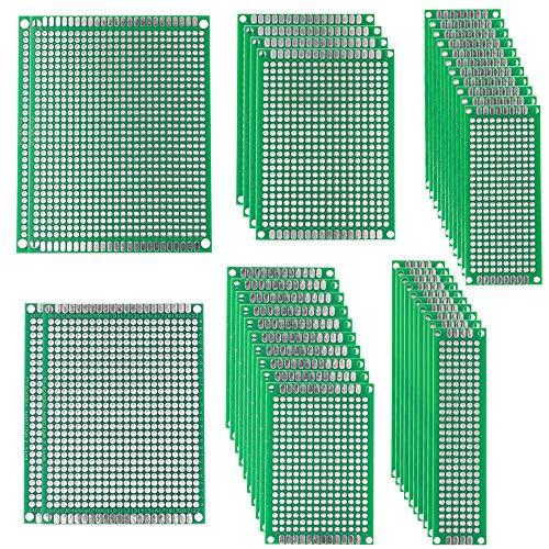 FULARR® 38Pcs Premium Doppelseitig Prototyp PCB Board Kit, 6 Größen Leiterplatte Platine Universal Board, Doppelseitig Lochrasterplatte Lochrasterplatine für Arduino DIY Löten【MEHRWEG】 -