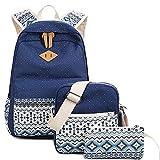 Wasserdichter Segeltuch-Rucksack-Laptop-Beutel-leichter Beiläufiger Schulrucksack-Rucksack Für Jugendlich Mädchen (1 Stück Umfaßt: Rucksack, Umhängetasche, Mäppchen) ( Color : Blue )