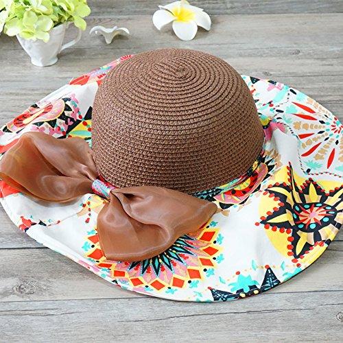 ZMZX*Les filles d'été chapeau de paille à l'ombre de l'écran solaire pliable hat pour une journée à la Beach Oceanfront Stetson , les femmes adultes sont code, brown top cap Le code par habitant, brown top cap