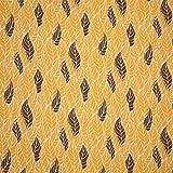 Muster Jersey Baumwolljersey mit Blätter Leaves Ocker