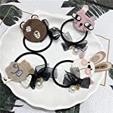 wuudi 4pcs cute Cartoon Hair Tie Band Ropes Pearl tessuto elastico per capelli accessori per donna Girl Baby Teen Kid bambino adulto, da abbinare al vestito, vestito