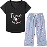 MyFav Pijama de manga corta con estampado de vino tinto suave para mujer