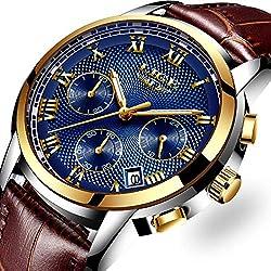 Montre pour Homme,Bleu Classique d'affaires À Quartz Analogique Montres Hommes LIGE Casual De Mode Chronographe Étanche en Cuir Montre-Bracelet