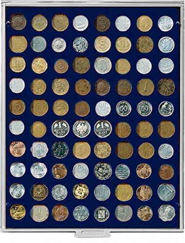 Preisvergleich Produktbild Münzbox mit 80 quadratischen Vertiefungen á 24 x 24 mm (Lindner 2180M) Marine (Grauer Schuber, blaue Veloureinlage)