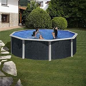 Gre kitpr358nrt piscina tonda decorazione rattan dim for Piscina h 132