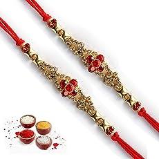 Kanisha Creations Pack of 2 Red Stone Designer Rakhi for Brother, TS 6413