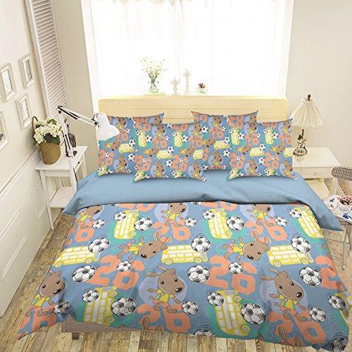 3d-Fußball, Cartoon-Bettwäsche mit Kissenbezug Quilt Bettbezug-Set aus Baumwolle | mit 3d-Bettwäsche, AJ Tapete mit 7 (Cartoon-kissenbezüge)