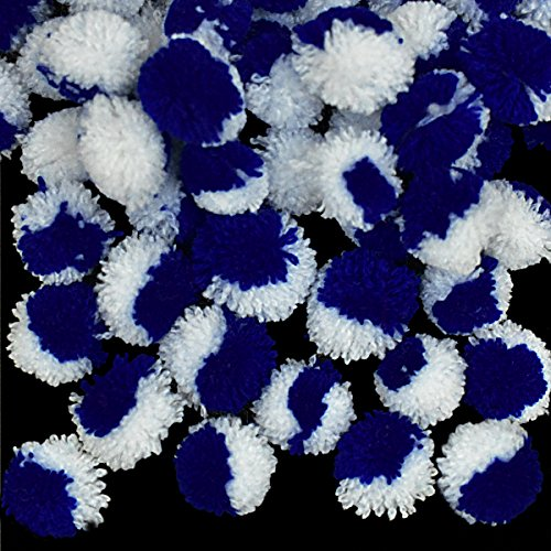 Embroiderymaterial Pom Pom Balls for Crafts Decorations,Jewellery Making Purpose (150 Pieces,Royal Blue and Bluish White)