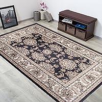 Alfombra Oriental Persa Diseño Clásico BORDURA Antracita Gris Tamaño S-XXXL (140 x 200 cm)