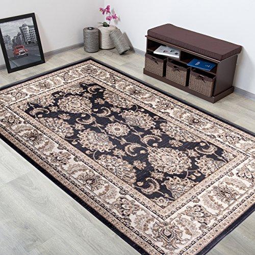 Alfombra Oriental Persa Diseño Clásico BORDURA Antracita Gris Tamaño S-XXXL (120 x 170 cm)