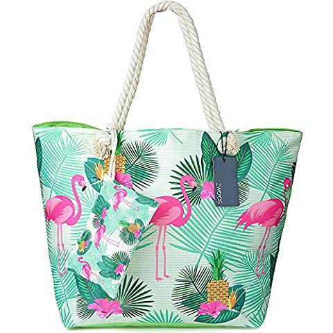 ZWOOS Oversized Beach Holiday Bag Large Waterproof Travel Tote Shopping Shoulder Bag with Zip for Women and Girls (Flamingo)