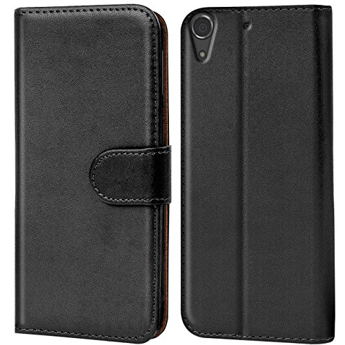 Verco Desire 728G Hülle, Handyhülle für HTC Desire 728G Tasche PU Leder Flip Case Brieftasche - Schwarz