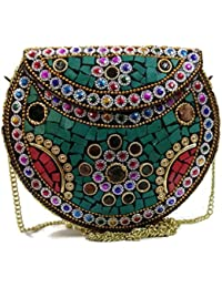 Stone Mosaic Studded Clutch Wallet Metal Purse Party Bag For Women Wedding Box Clutch For Women