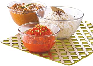 Borosil Glass Mixing Bowl Set, 3-Pieces, Transparent