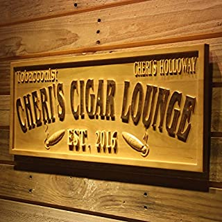 AdvPro Wood Custom wpa0416 TOBACCONIST Name Personalized Cigar Lounge Shop Wood Engraved Wooden Sign - Standard 58.5 cm x 23.4 cm