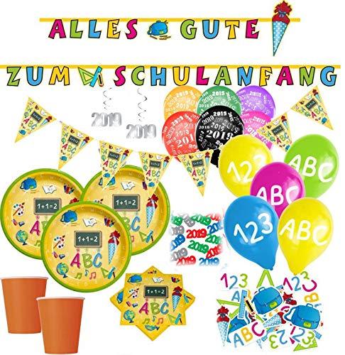 XXL 62 Teile Schulanfang Party Deko Set für 10 Personen