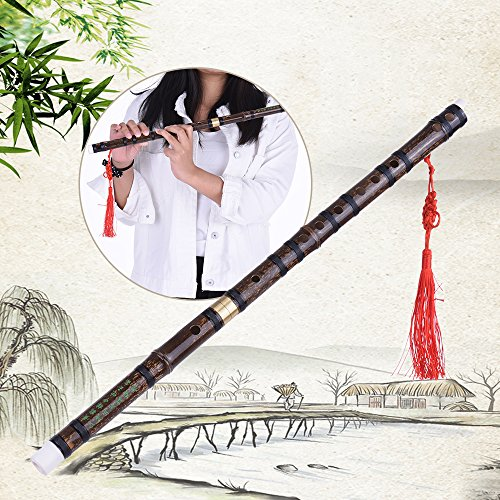 ammoon F Key Flute Pluggable Handmade Bitter Bamboo Dizi Traditional Chinese Musical Woodwind Instrument for Beginner Study Level