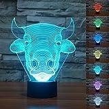 Novelty 3d vaca Bull Animal noche luz LED de 7colores Cambio Interruptor táctil lámpara de mesa lámpara de mesa arte Escultura regalo San Valentín niños regalos de Navidad