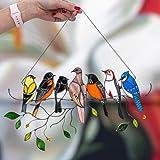 Mini gebrandschilderd vogel venster opknoping suncatcher, handgemaakte 7 vogels in gebrandschilderd glas, glas in lood vogels