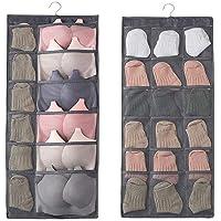 GETKO Dual-Sided Hanging Closet Organizer with 26 Mesh Pockets, Hanger Wall Shelf Organizers for Stockings, Panties, Bra…