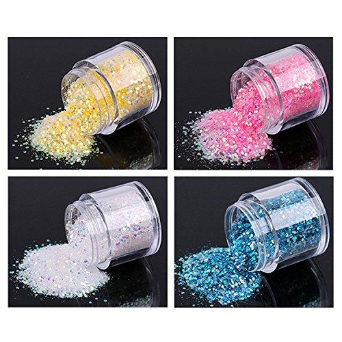 4Farben Nägel Glitzer Sequin Chunky Glitter,Glänzendes Glitzer Pailetten.