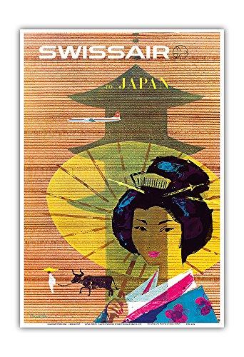Pacifica Island Art - Japan, Tokyo - Geisha Girl - Swissair Fluglinie Luftfahrtgesellschaft der Schweiz - Retro Flugreise Plakat von Donald Brun c.1958 - Kunstdruck 33 x 48 cm -