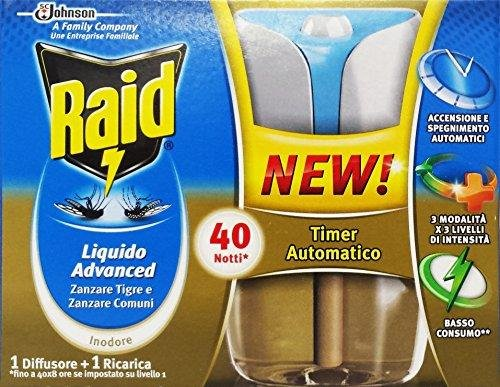Raid Liquido Advanced Zanzare Tigre E Zanzare Comuni 1 Diffusore + 1 Ricarica 33 ml