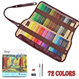#4: Bianyo 72 Water Color Water Soluble Pencil Set with Pencil Lengthener, Sharpener, Eraser, Water Brush, Blending Brush and Carry Case (72 Color Pencils)