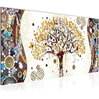 Photo Gustav Klimt - Arbre de vie Décoration Murale 100 x 40 cm Toison - Toile Taille XXL Salon Appartement Décoration Photos d'art Marron 1 parties - 100% MADE IN GERMANY - prêt à accrocher 004612a