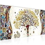 Bilder Gustav Klimt - Baum des Lebens Wandbild Vlies - Leinwand Bild XXL Format Wandbilder Wohnzimmer Wohnung Deko Kunstdrucke Gelb 1 Teilig - MADE IN GERMANY - Fertig zum Aufhängen 004612a