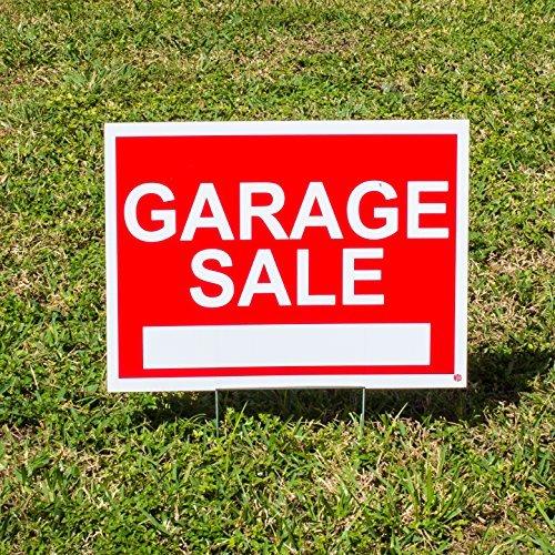 WDS Premium Garage Verkauf Zeichen Pack mit Spießen-4Pack Garage Sale Sign Kit für Street-(2) 30,5x 45,7cm + (2) 45,7x 61cm Schilder mit Pfeilen