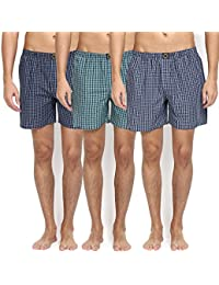 Joven Pack Of 3 Assorted Multi Color Cotton Checked Boxers