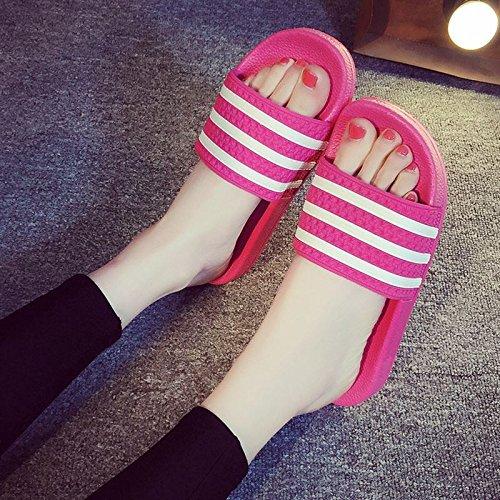 BAOZIV587 Casa all'aperto pantofole Pantofole estate femminile versione coreana della vasca da bagno scivolo casa coperta leggera personalità selvaggia comfort dolce e bella, 37-38, rosa rossa (tre barre)