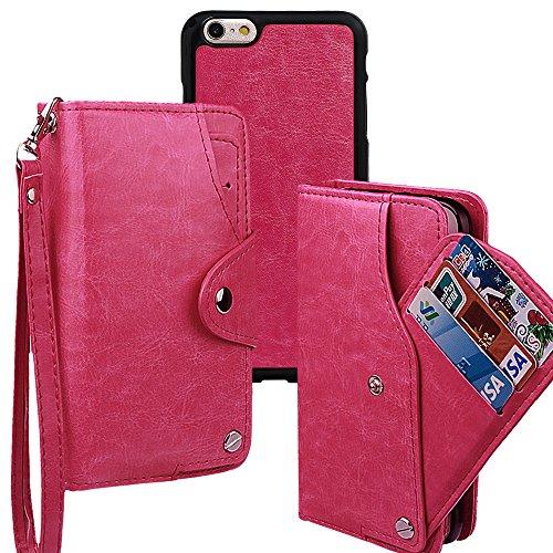 xhorizon TM MLK [Mise à niveau] [détachable] [séparable] 2 en 1 haut de gamme en cuir double-pli carte magnétique soutien le téléphone Compatible avec l'étui portefeuille avec cordon pour iPhone 6 Plu Rose Rouge +9H Glass Tempered Film