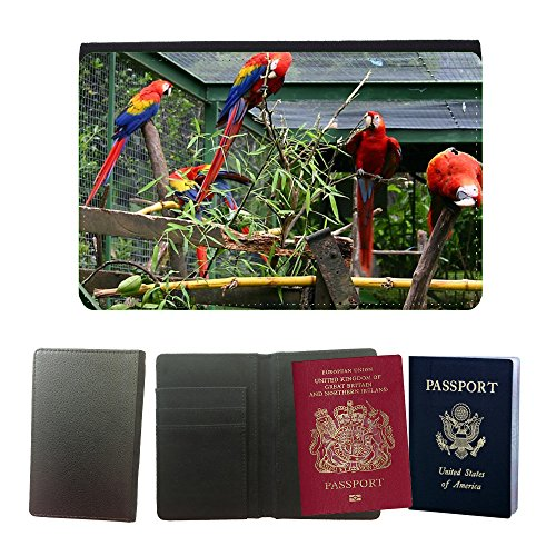 Muster PU Passdecke Inhaber // M00134867 Vogel Papageien Käfig Zoo Colorful // Universal passport leather cover (Papageien Reise-vogel Käfige Für)