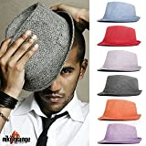 niki-orange® Callum Fedora Trilby Hut Hat Flieder Orange Rot Weiß