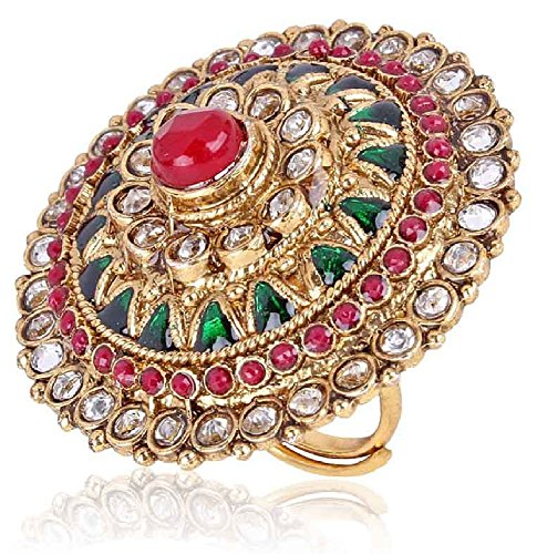 Shining Diva Multicolor Gold Plated Ring For Women