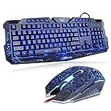 Gaming Tastatur und Maus Set, MFTEK USB Verdrahtete LED 3 Farben (Blau/Rot/Lila) Hinterleuchtet QWERTY Tastatur und 7 Tasten Maus Combo