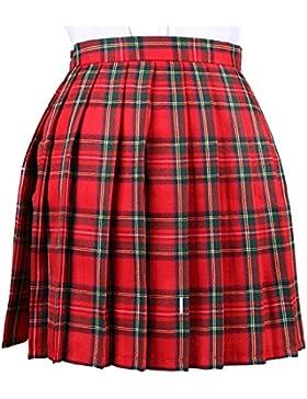OCHENTA Mujeres Falda Escocesa Plisada con Cintura Escuela Uniforme Falda Cuadros