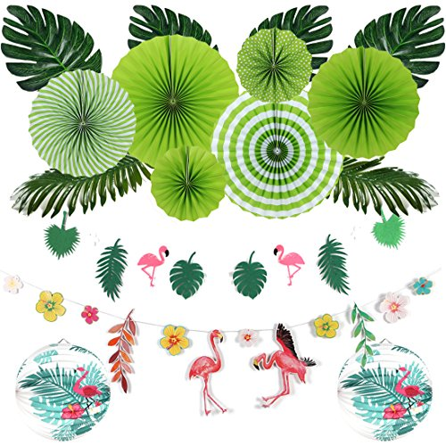 Easy Joy Sommer Party Deko Tropische Blätter Flamingo Girlande Hawaii Papier Laternen Grüne Party Dekoration