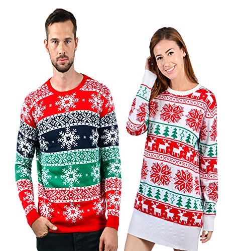 Uideazone Frauen Damen Weihnachten Rentier Schneeflocke stricken Langarm Tunika Pullover Kleid rot Medium (Pullover Stricken Tunika)