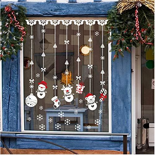 Wandtattoo Wohnkultur Weihnachten Fenster Aufkleber Selbstklebende Hängende Schneekugel Anhänger Neue Jahr Weihnachten Festival Glas Wandaufkleber 60X90 Cm