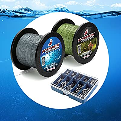 "Neverbreak ""More Fish"" Maximum Power Braided Fishing Line Set. 500M (550 Yards) and 300M (328 Yards), Braided Fishing Two Spool Super Pack. Very Resistant and Sturdy. 50 Free Fishing Hooks. from Neverbreak"