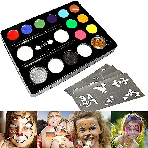 Innoo Tech 12er Kinderschminke Schminkpalette Schminkset, 2 Glitzer und 3 Pinsel, Schminkfarben Tiermasken Körperfarben für Halloween Karneval Make-up Gesichtsfarbe Bodypainting (Halloween Ideen Airbrush-make-up)
