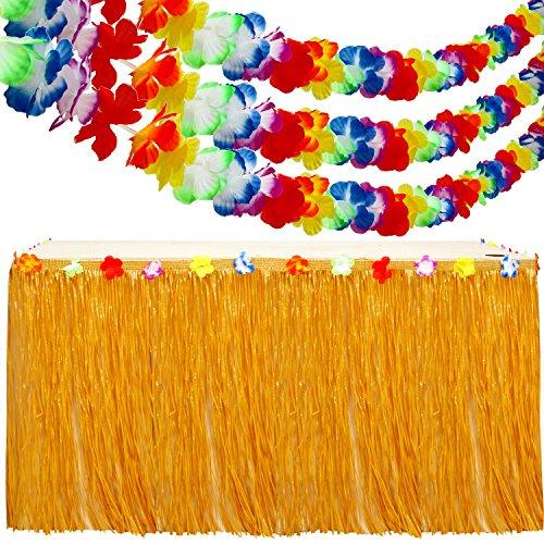 Aneco 9.6 Pieds Hawaïen Luau Tableau Jupe Hibiscus Herbe Table Jupe avec 3 Pack 10 Pieds Coloré Luau Tropical Guirlande De Fleurs pour la Décoration de Fête