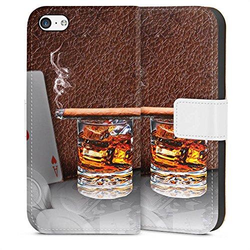 DeinDesign Tasche kompatibel mit Apple iPhone 5c Leder Flip Case Ledertasche Zigarre Whiskey Whisky (Iphone 5c Case Whiskey)