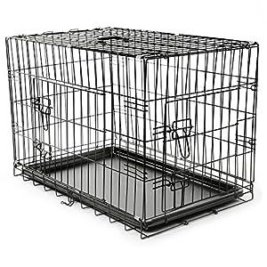 tresko® Cage de transport pour chiens, chats, chiots et les animaux domestiques dans différentes tailles, cage, cage, la voiture Cage de transport, Chien Box avec douchette extractible et plastique étanche coffre, noir, des deux pages à ouvrir, pliable
